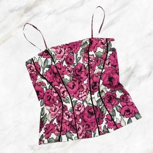 WHBM Black Pink & White Floral Print Bustier 2